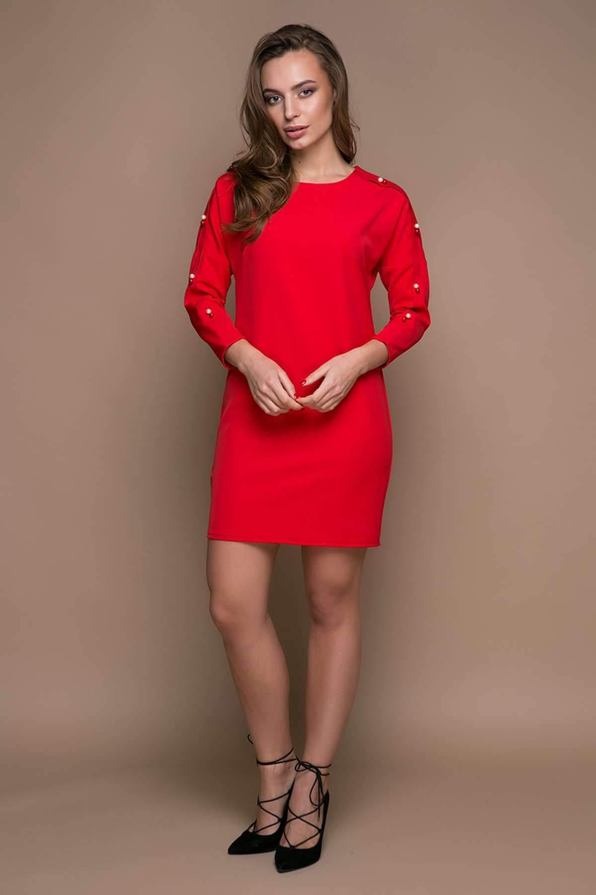 Прямое платье с заниженной проймой ZARA красное