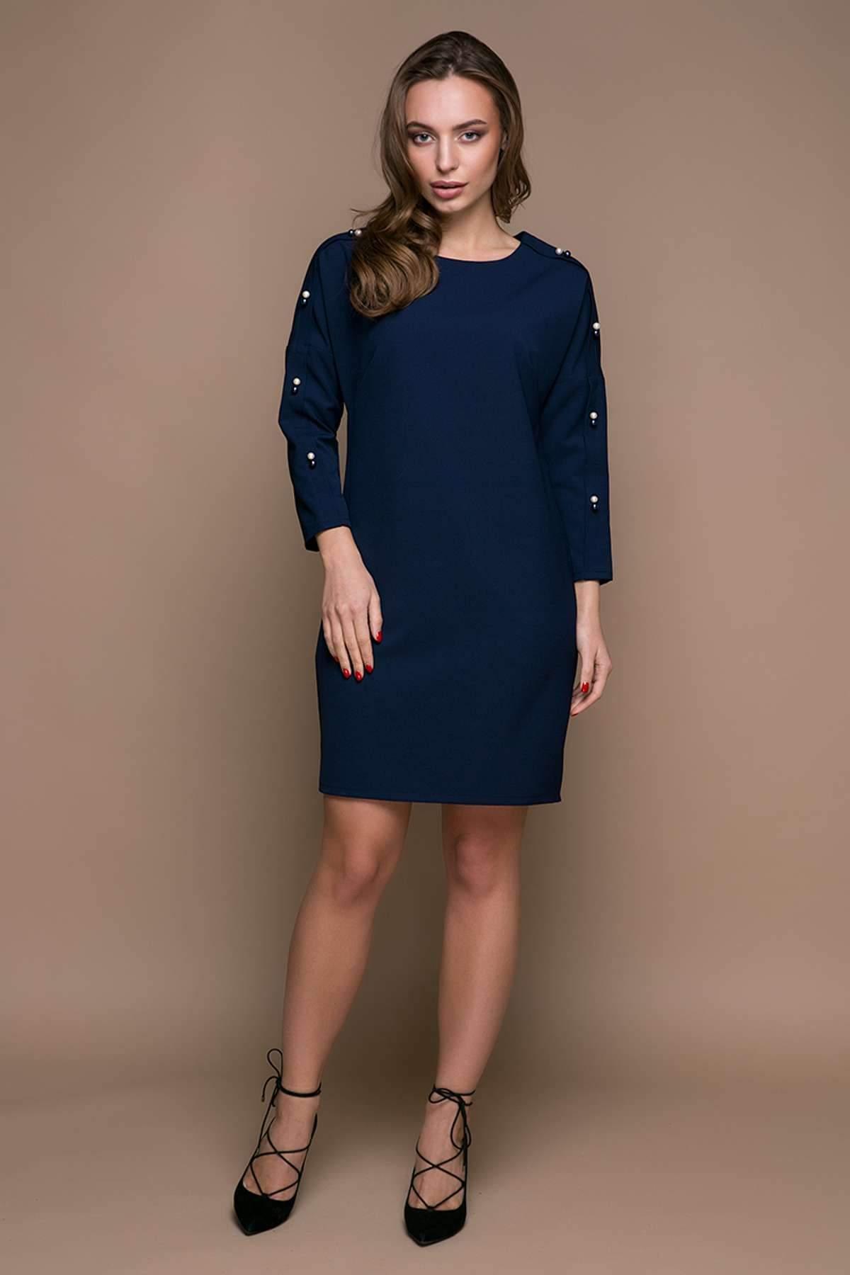 ebc8da93a1e6b5f Прямое платье с заниженной проймой ZARA темно-синее